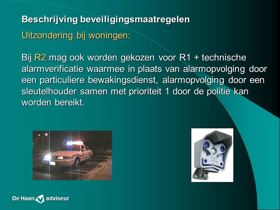 Beschrijving beveiligingsmaatregelen Uitzondering bij woningen: Bij R2 mag ook worden gekozen voor R1 + technische alarmverificatie waarmee in plaats