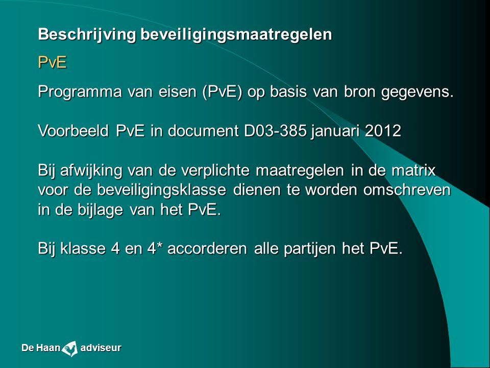 Beschrijving beveiligingsmaatregelen PvE Programma van eisen (PvE) op basis van bron gegevens. Voorbeeld PvE in document D03-385 januari 2012 Bij afwi