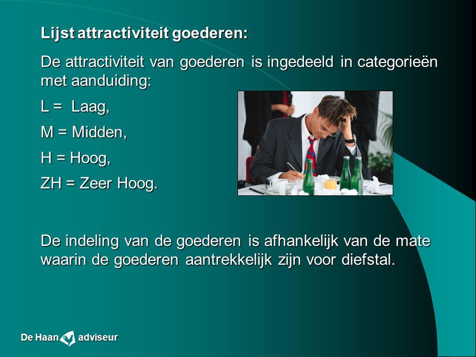 Lijst attractiviteit goederen: De attractiviteit van goederen is ingedeeld in categorieën met aanduiding: L = Laag, M = Midden, H = Hoog, ZH = Zeer Ho