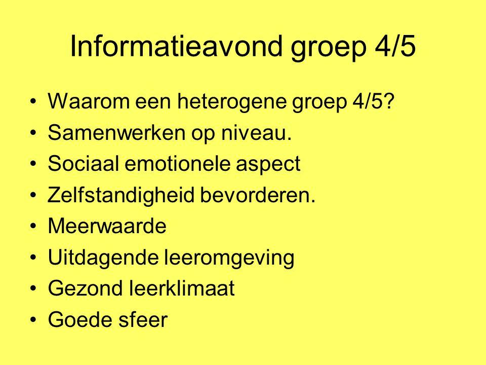 Informatieavond groep 4/5 Waarom een heterogene groep 4/5? Samenwerken op niveau. Sociaal emotionele aspect Zelfstandigheid bevorderen. Meerwaarde Uit