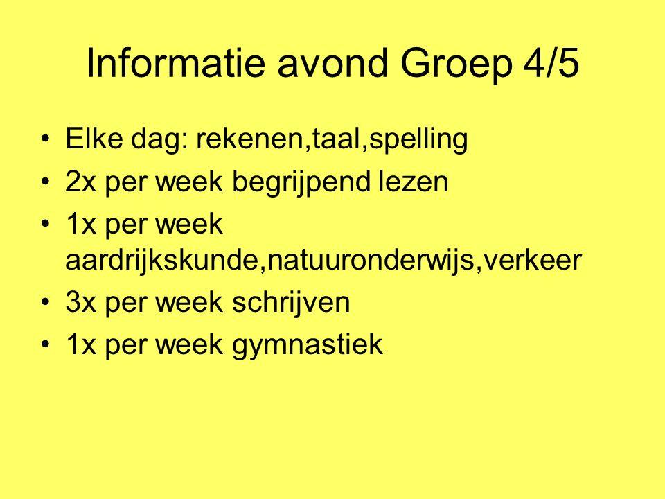 Informatie avond Groep 4/5 Elke dag: rekenen,taal,spelling 2x per week begrijpend lezen 1x per week aardrijkskunde,natuuronderwijs,verkeer 3x per week