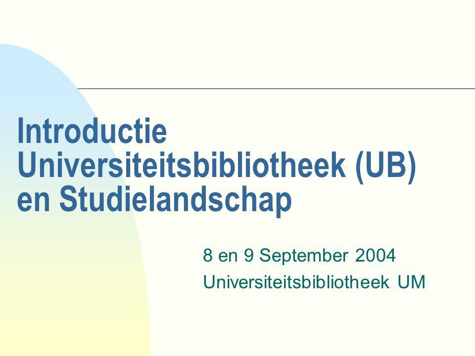 Programma u 9:00 u, Maastricht zaal, 8 september, UNS40 : - inleiding: collecties en dienstverlening - spelregels - UB Home Page en psychologieportaal - informatie zoeken, opslaan en verwerken - catalogus UB en andere literatuurbestanden - elektronische tijdschriften (e-journals) u vanaf 10:00 u, in de UB, 8 en 9 september, UNS50 : - Opdrachten aan de computer (pc ruimte 1- Studielandschap) - Opdrachten in de UB / Studielandschap