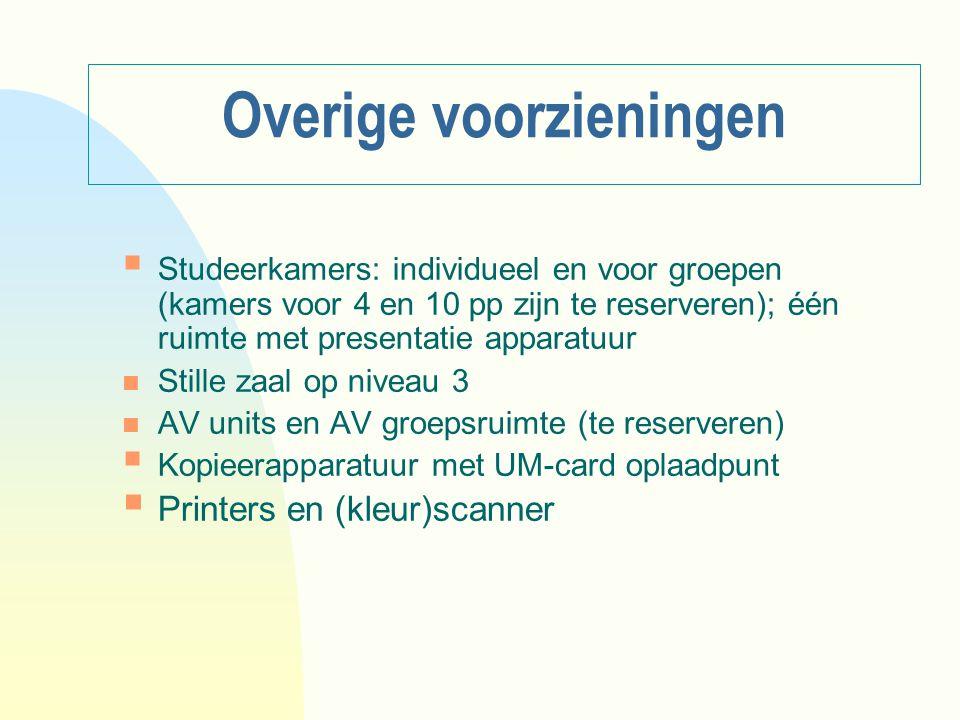 Overige voorzieningen  Studeerkamers: individueel en voor groepen (kamers voor 4 en 10 pp zijn te reserveren); één ruimte met presentatie apparatuur