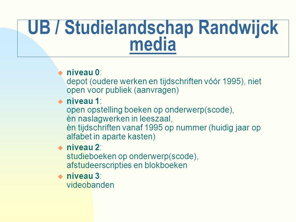 UB / Studielandschap Randwijck media u niveau 0: depot (oudere werken en tijdschriften vóór 1995), niet open voor publiek (aanvragen) u niveau 1: open