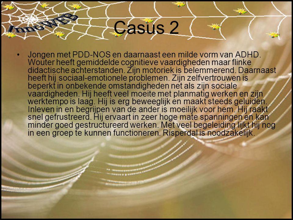 Casus 2 Jongen met PDD-NOS en daarnaast een milde vorm van ADHD. Wouter heeft gemiddelde cognitieve vaardigheden maar flinke didactische achterstanden