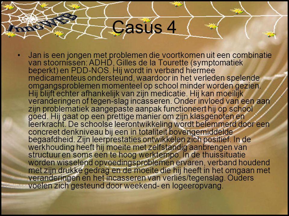 Casus 4 Jan is een jongen met problemen die voortkomen uit een combinatie van stoornissen: ADHD, Gilles de la Tourette (symptomatiek beperkt) en PDD-N
