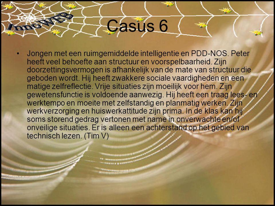 Casus 6 Jongen met een ruimgemiddelde intelligentie en PDD-NOS. Peter heeft veel behoefte aan structuur en voorspelbaarheid. Zijn doorzettingsvermogen