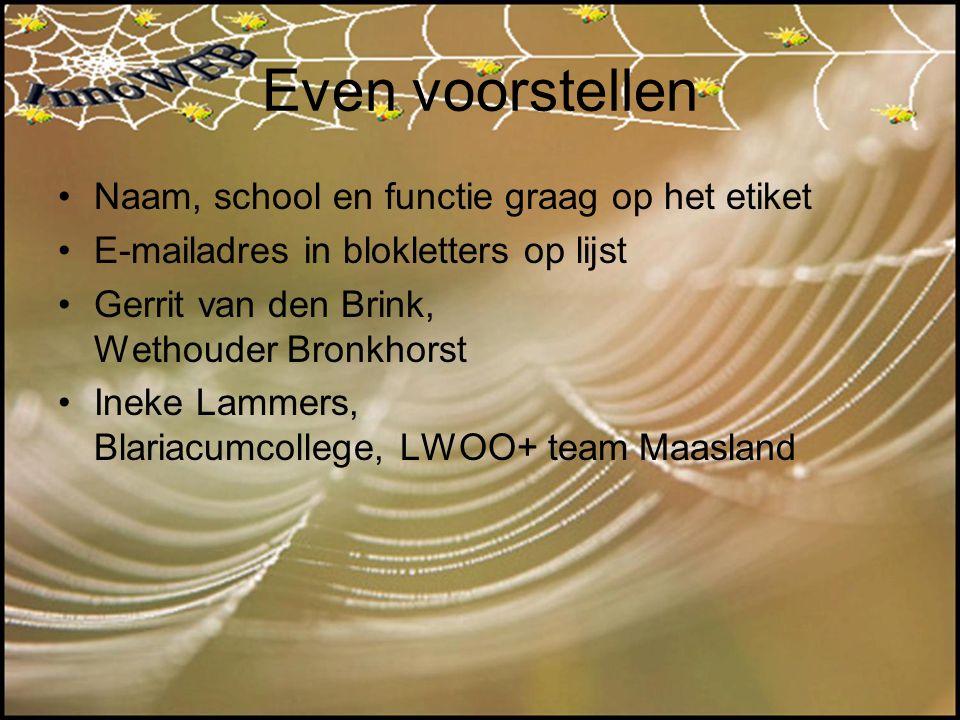 Even voorstellen Naam, school en functie graag op het etiket E-mailadres in blokletters op lijst Gerrit van den Brink, Wethouder Bronkhorst Ineke Lamm
