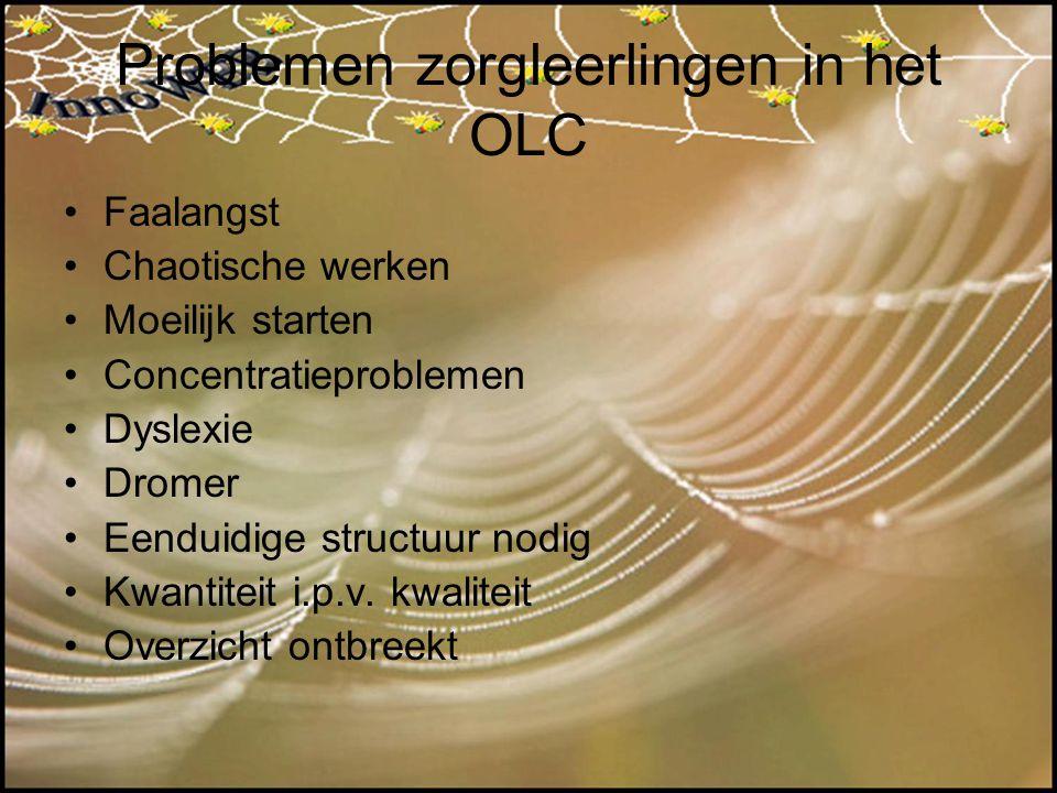 Problemen zorgleerlingen in het OLC Faalangst Chaotische werken Moeilijk starten Concentratieproblemen Dyslexie Dromer Eenduidige structuur nodig Kwan