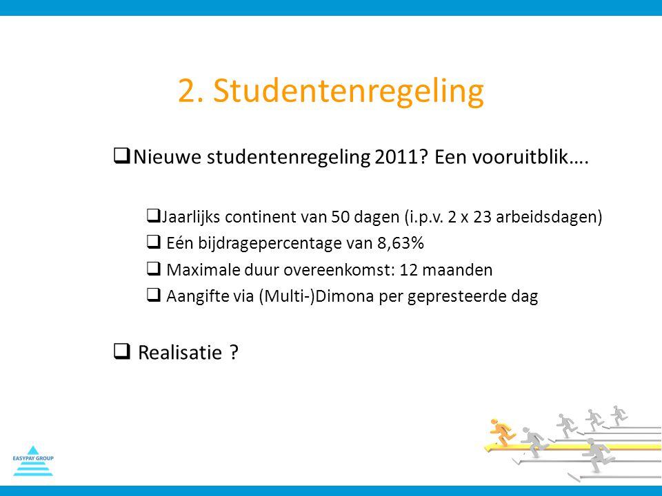 2. Studentenregeling  Nieuwe studentenregeling 2011? Een vooruitblik….  Jaarlijks continent van 50 dagen (i.p.v. 2 x 23 arbeidsdagen)  Eén bijdrage