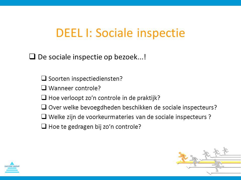 DEEL I: Sociale inspectie  De sociale inspectie op bezoek...!  Soorten inspectiediensten?  Wanneer controle?  Hoe verloopt zo'n controle in de pra