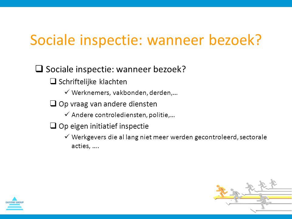Sociale inspectie: wanneer bezoek?  Sociale inspectie: wanneer bezoek?  Schriftelijke klachten Werknemers, vakbonden, derden,…  Op vraag van andere