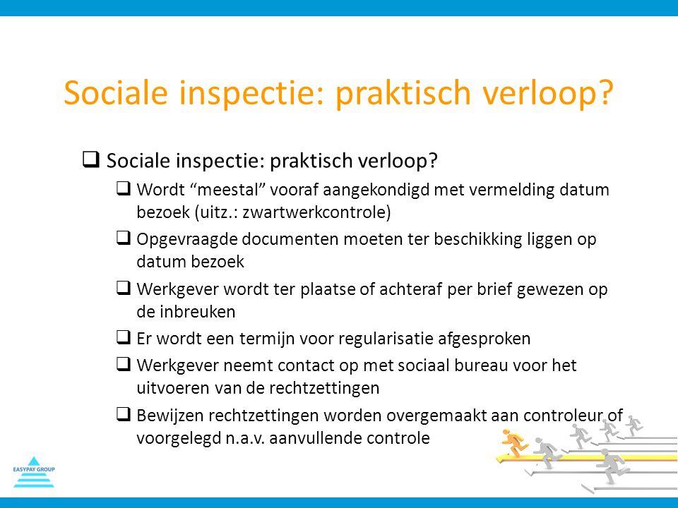 """Sociale inspectie: praktisch verloop?  Sociale inspectie: praktisch verloop?  Wordt """"meestal"""" vooraf aangekondigd met vermelding datum bezoek (uitz."""