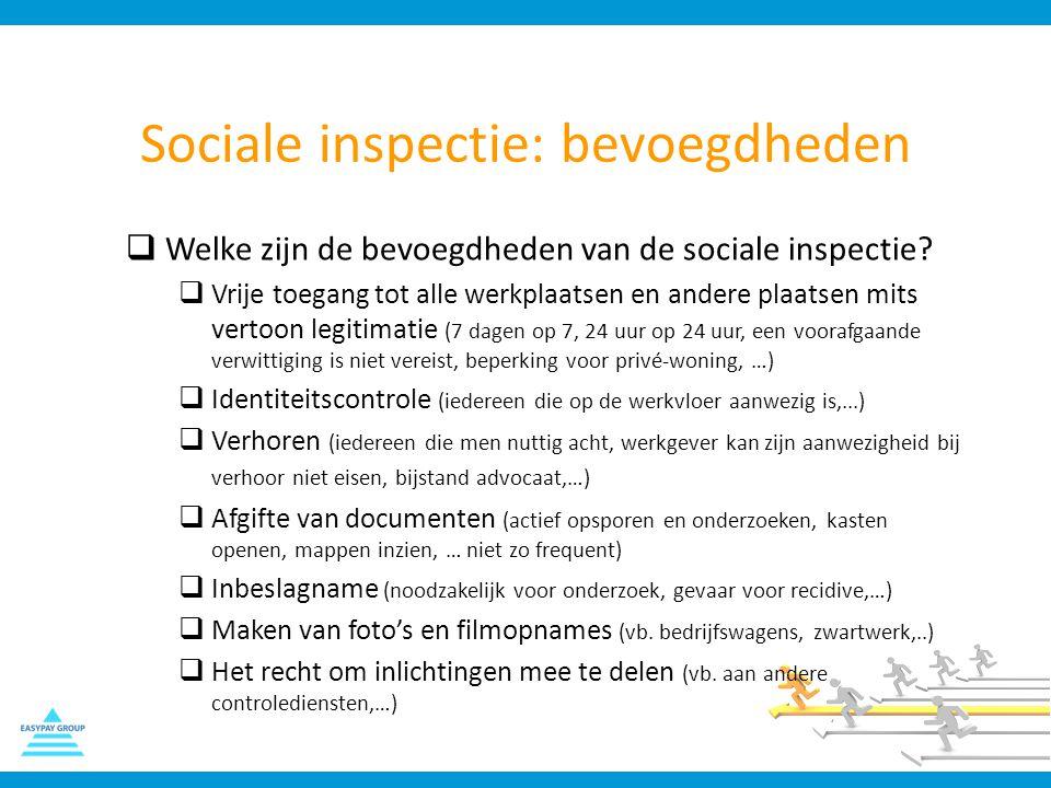 Sociale inspectie: bevoegdheden  Welke zijn de bevoegdheden van de sociale inspectie?  Vrije toegang tot alle werkplaatsen en andere plaatsen mits v