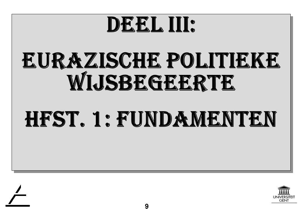 9 DEEL III: EURAZISCHE politiekE WIJSBEGEERTE Hfst.