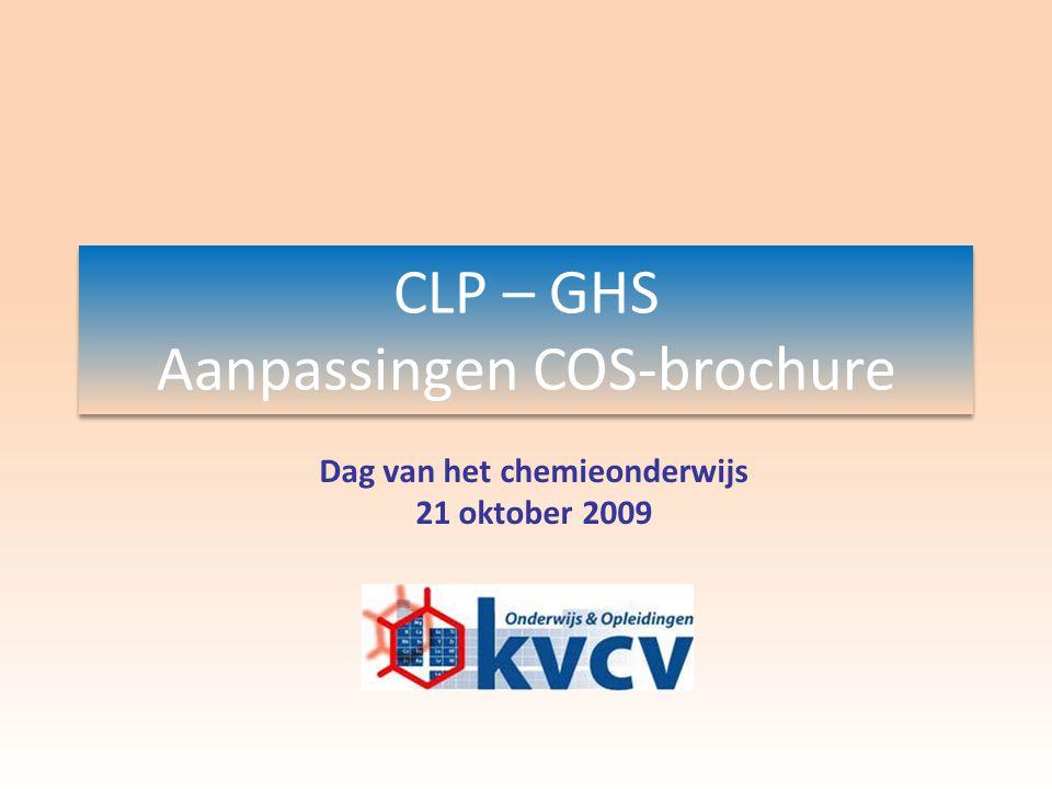 Dag van het chemieonderwijs – 21 oktober 2009Marc Verhaeghe nieuwe pictogrammen CLP-verordening (toepassing GHS in EU) EUGHS (EU) (zeer) giftigacuut toxische stoffen cat 1, 2 & 3 schadelijk irriterend acuut toxische stoffen cat 4 huidirritatie oogirritatie huidallergenen toxisch voor doelorganen na eenmalige blootstelling cat 3 bijtend bijtend voor metalen bijtend voor de huid cat 1A/1B/1C ernstig oogletsel (zeer) licht ontvlambaar ontvlambare stoffen zelfontledende stoffen en organische peroxiden type B, C, D, E, F pyrofore stoffen stoffen vatbaar voor zelfverhitting stoffen die met water ontvlambare gassen vormen