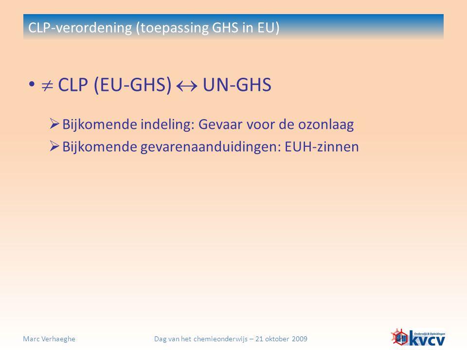 Dag van het chemieonderwijs – 21 oktober 2009Marc Verhaeghe CLP-verordening (toepassing GHS in EU)  CLP (EU-GHS)  UN-GHS  Bijkomende indeling: Geva