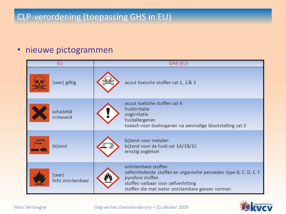 Dag van het chemieonderwijs – 21 oktober 2009Marc Verhaeghe nieuwe pictogrammen CLP-verordening (toepassing GHS in EU) EUGHS (EU) (zeer) giftigacuut t