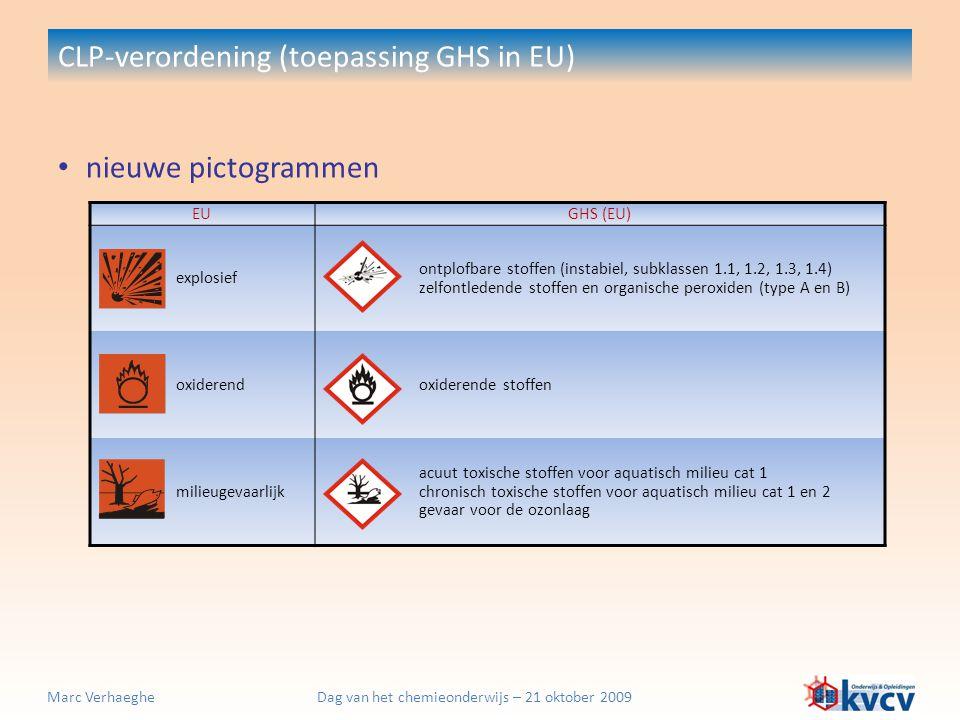Dag van het chemieonderwijs – 21 oktober 2009Marc Verhaeghe nieuwe pictogrammen CLP-verordening (toepassing GHS in EU) EUGHS (EU) explosief ontplofbar