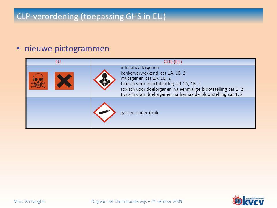 Dag van het chemieonderwijs – 21 oktober 2009Marc Verhaeghe nieuwe pictogrammen CLP-verordening (toepassing GHS in EU) EUGHS (EU) inhalatieallergenen