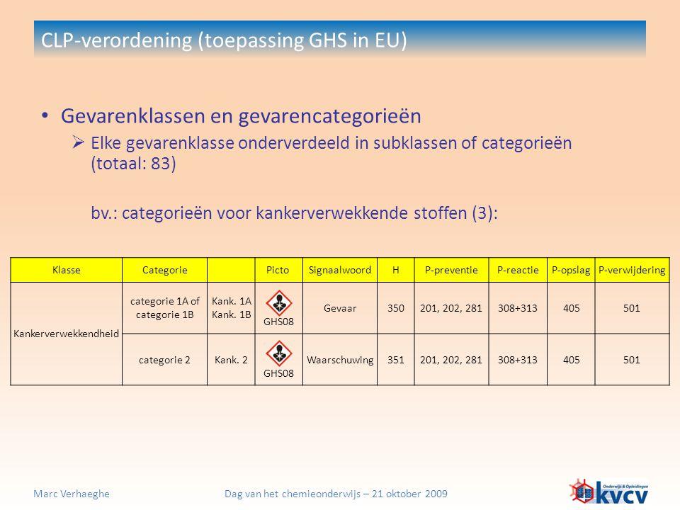 Dag van het chemieonderwijs – 21 oktober 2009Marc Verhaeghe CLP-verordening (toepassing GHS in EU) Gevarenklassen en gevarencategorieën  Elke gevaren