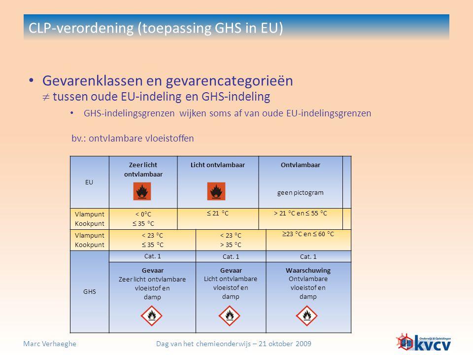 Dag van het chemieonderwijs – 21 oktober 2009Marc Verhaeghe CLP-verordening (toepassing GHS in EU) EU Zeer licht ontvlambaar Licht ontvlambaar Ontvlam