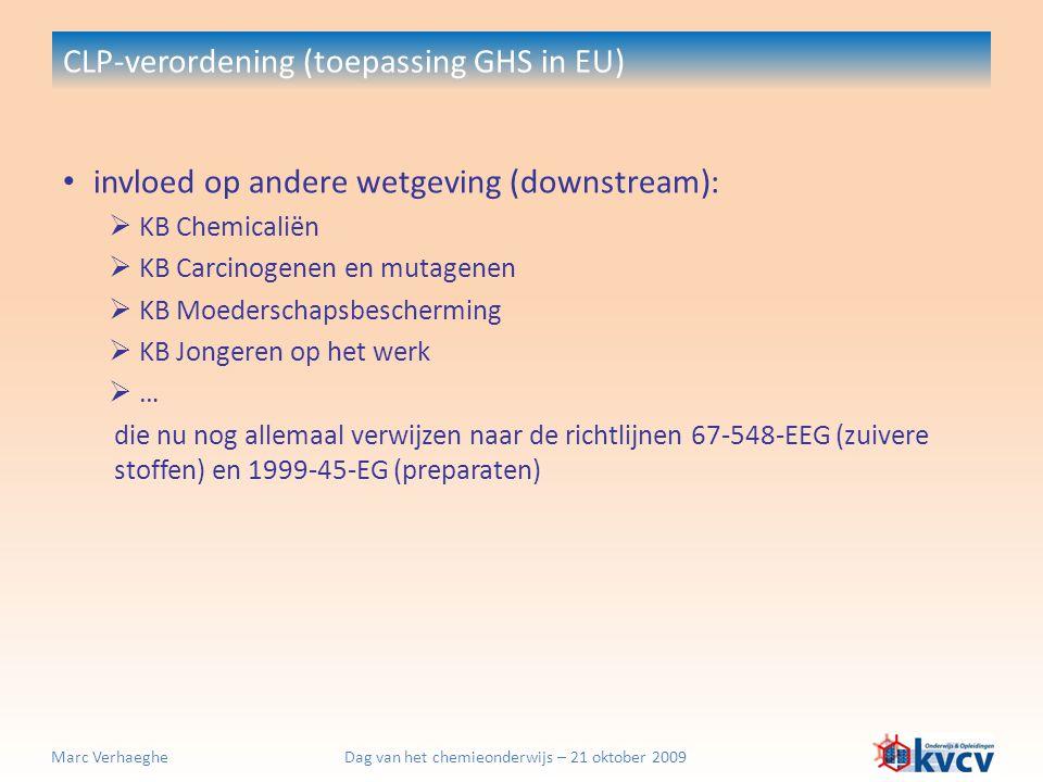 Dag van het chemieonderwijs – 21 oktober 2009Marc Verhaeghe CLP-verordening (toepassing GHS in EU) invloed op andere wetgeving (downstream):  KB Chem
