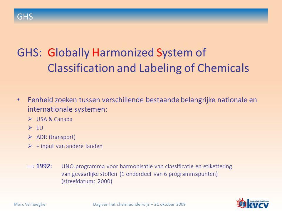 Dag van het chemieonderwijs – 21 oktober 2009Marc Verhaeghe GHS GHS:Globally Harmonized System of Classification and Labeling of Chemicals 2002: aanvaarding van GHS door UNO December 2004: eerste gereviseerde versie van GHS December 2006: tweede gereviseerde versie van GHS