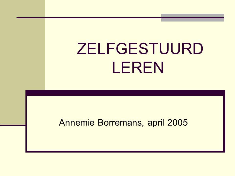 ZELFGESTUURD LEREN Annemie Borremans, april 2005