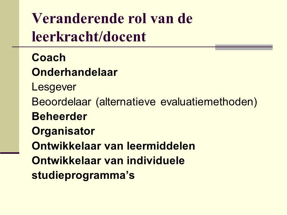 Veranderende rol van de leerkracht/docent Coach Onderhandelaar Lesgever Beoordelaar (alternatieve evaluatiemethoden) Beheerder Organisator Ontwikkelaa