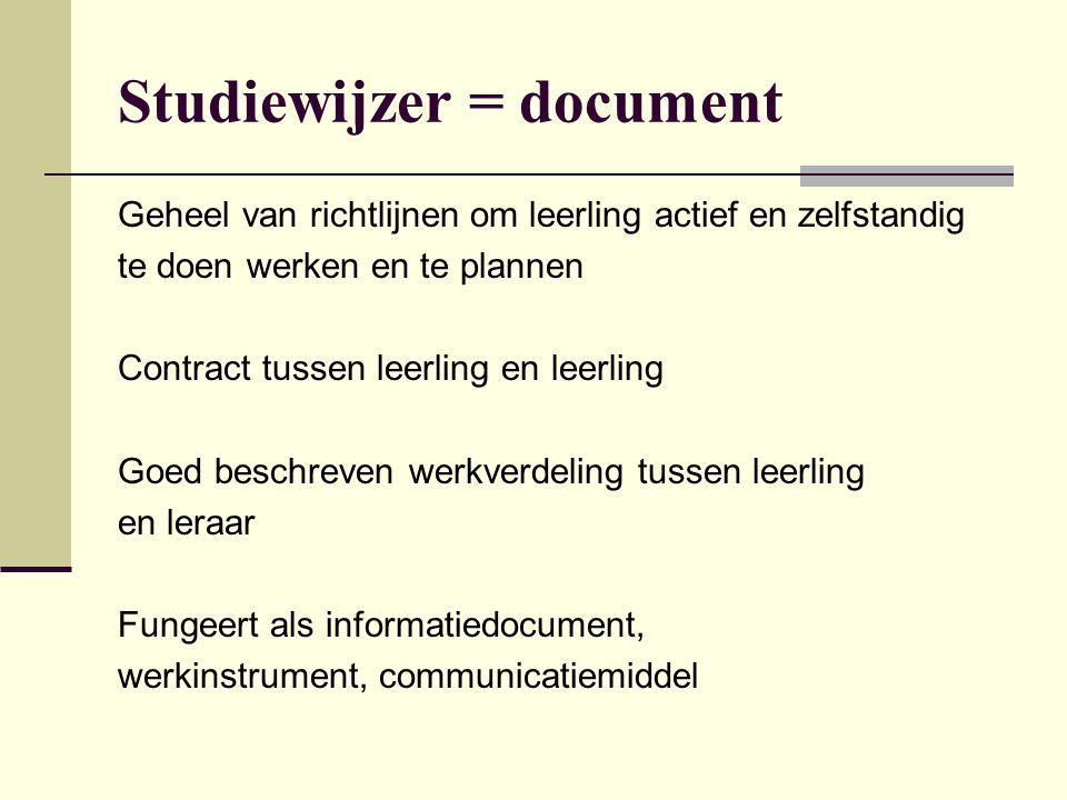 Studiewijzer = document Geheel van richtlijnen om leerling actief en zelfstandig te doen werken en te plannen Contract tussen leerling en leerling Goe