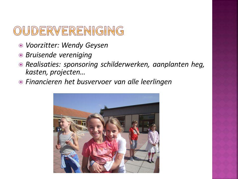  Voorzitter: Wendy Geysen  Bruisende vereniging  Realisaties: sponsoring schilderwerken, aanplanten heg, kasten, projecten…  Financieren het busve