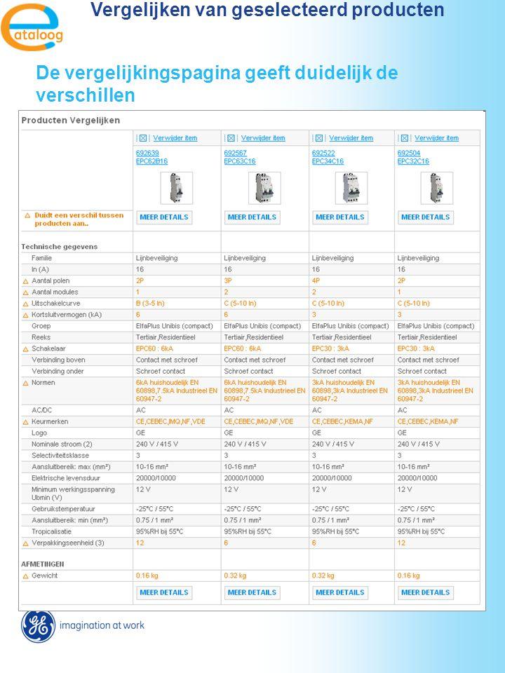 Vergelijken van geselecteerd producten De vergelijkingspagina geeft duidelijk de verschillen