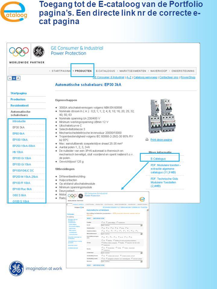 Toegang tot de E-cataloog van de Portfolio pagina's. Een directe link nr de correcte e- cat pagina
