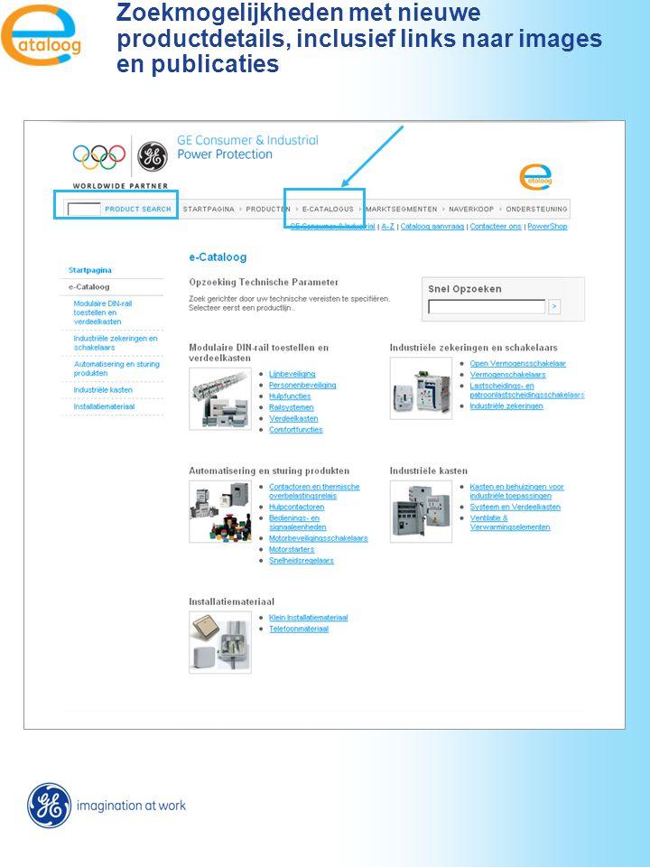 Zoekmogelijkheden met nieuwe productdetails, inclusief links naar images en publicaties