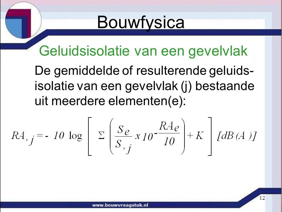 12 Geluidsisolatie van een gevelvlak De gemiddelde of resulterende geluids- isolatie van een gevelvlak (j) bestaande uit meerdere elementen(e): Bouwfysica