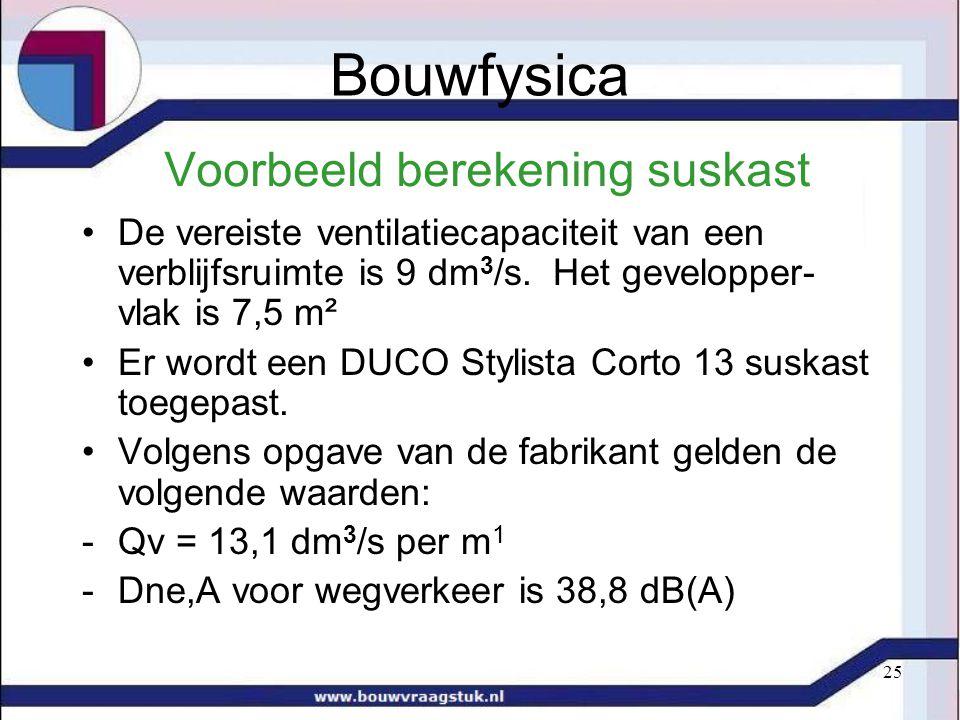 25 Voorbeeld berekening suskast De vereiste ventilatiecapaciteit van een verblijfsruimte is 9 dm 3 /s. Het gevelopper- vlak is 7,5 m² Er wordt een DU