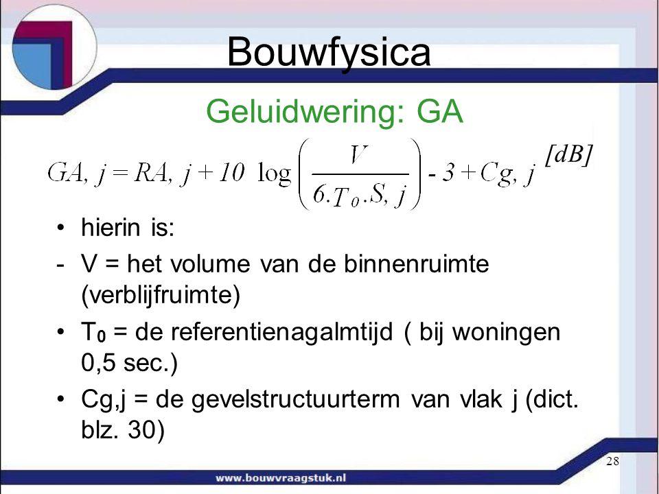 28 Geluidwering: GA [dB] hierin is: -V = het volume van de binnenruimte (verblijfruimte) T 0 = de referentienagalmtijd ( bij woningen 0,5 sec.) Cg,j = de gevelstructuurterm van vlak j (dict.
