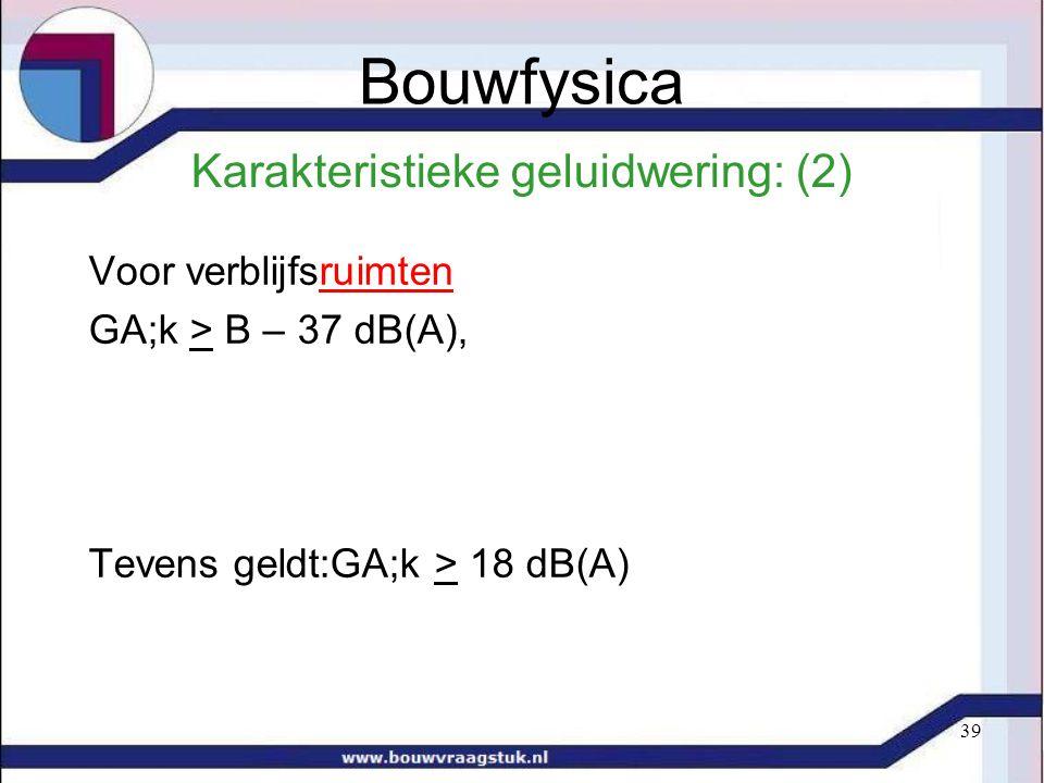 39 Karakteristieke geluidwering: (2) Voor verblijfsruimten GA;k > B – 37 dB(A), Tevens geldt:GA;k > 18 dB(A) Bouwfysica