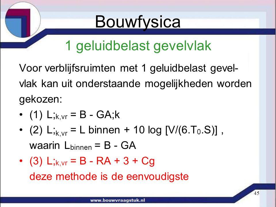 45 1 geluidbelast gevelvlak Voor verblijfsruimten met 1 geluidbelast gevel- vlak kan uit onderstaande mogelijkheden worden gekozen: (1)L; k,vr = B - GA;k (2)L; k,vr = L binnen + 10 log [V/(6.T 0.S)], waarin L binnen = B - GA (3)L; k,vr = B - RA + 3 + Cg deze methode is de eenvoudigste Bouwfysica