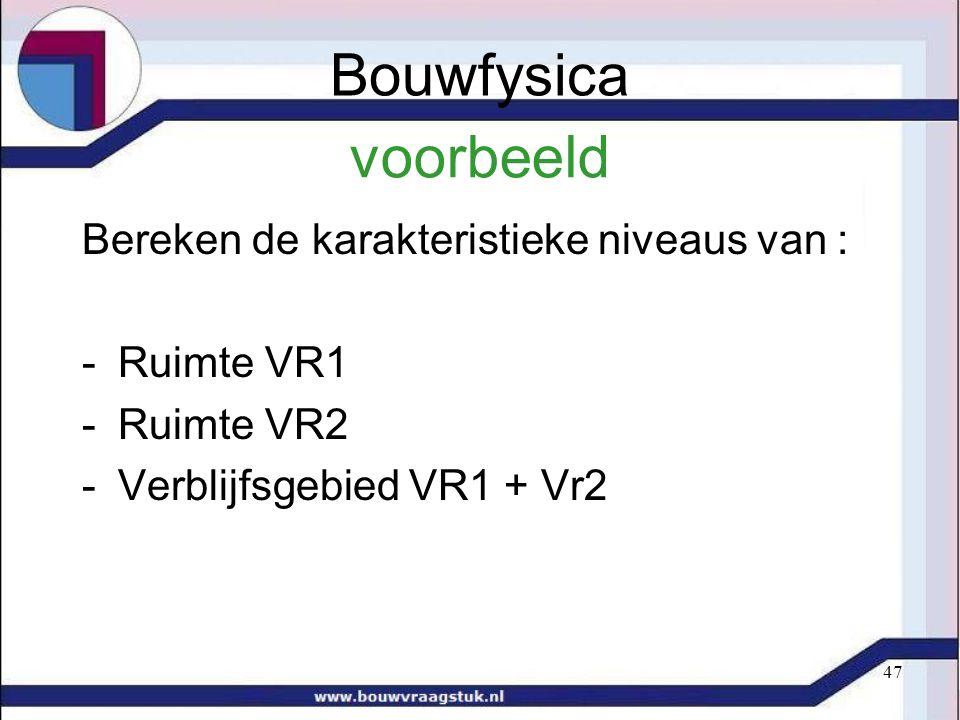 47 voorbeeld Bereken de karakteristieke niveaus van : -Ruimte VR1 -Ruimte VR2 -Verblijfsgebied VR1 + Vr2 Bouwfysica