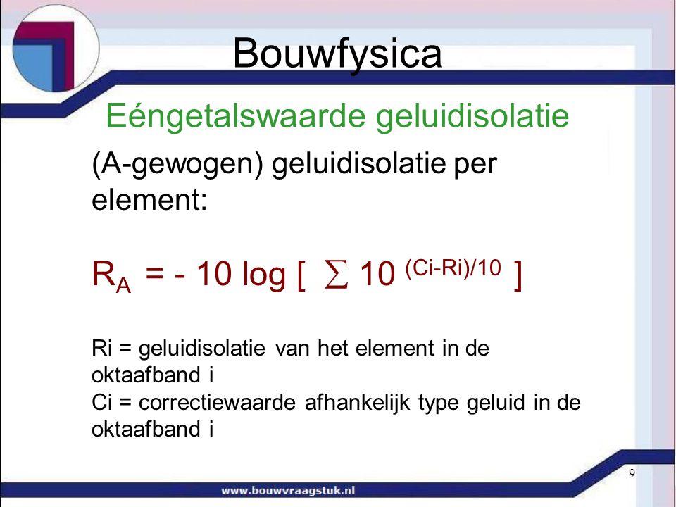 9 Eéngetalswaarde geluidisolatie (A-gewogen) geluidisolatie per element: R A = - 10 log [  10 (Ci-Ri)/10 ] Ri = geluidisolatie van het element in de oktaafband i Ci = correctiewaarde afhankelijk type geluid in de oktaafband i Bouwfysica