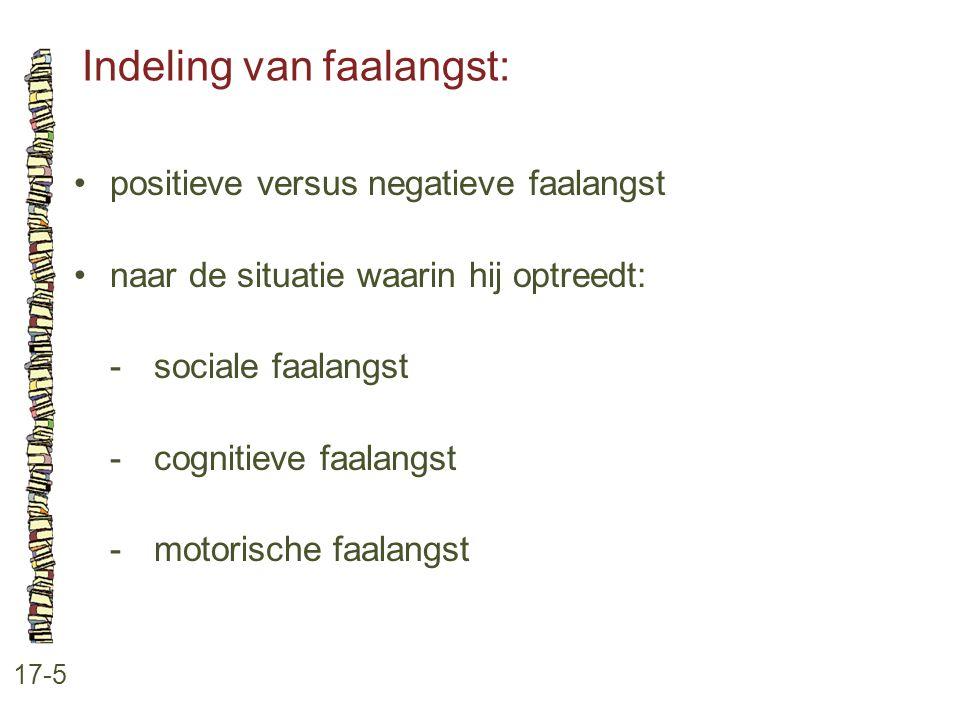 Indeling van faalangst: 17-5 positieve versus negatieve faalangst naar de situatie waarin hij optreedt: -sociale faalangst -cognitieve faalangst -moto