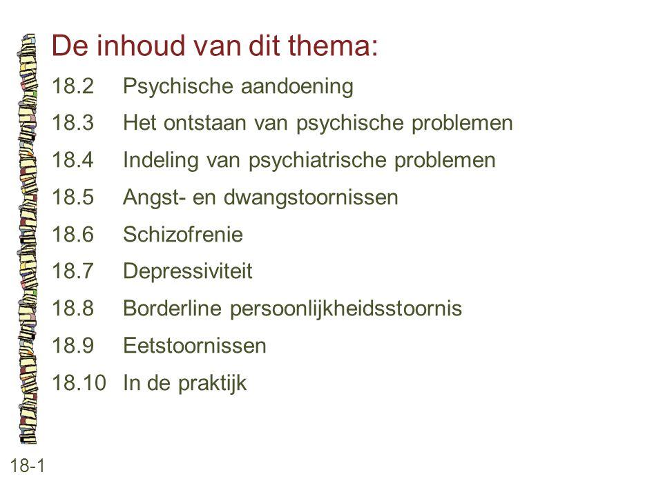 De inhoud van dit thema: 18-1 18.2 Psychische aandoening 18.3 Het ontstaan van psychische problemen 18.4 Indeling van psychiatrische problemen 18.5 An