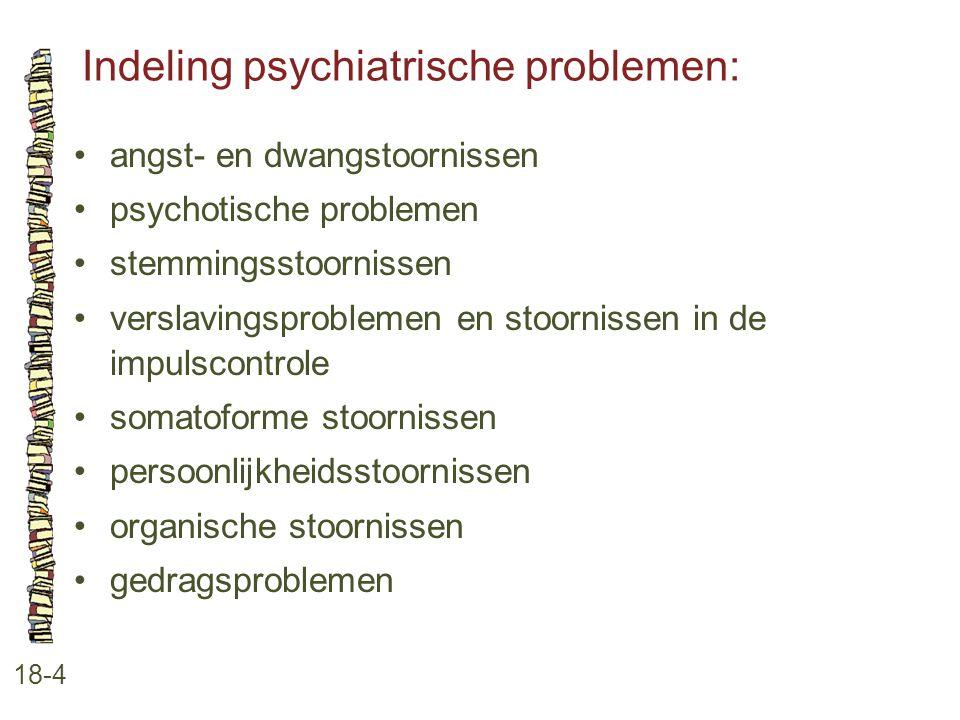 Indeling psychiatrische problemen: 18-4 angst- en dwangstoornissen psychotische problemen stemmingsstoornissen verslavingsproblemen en stoornissen in