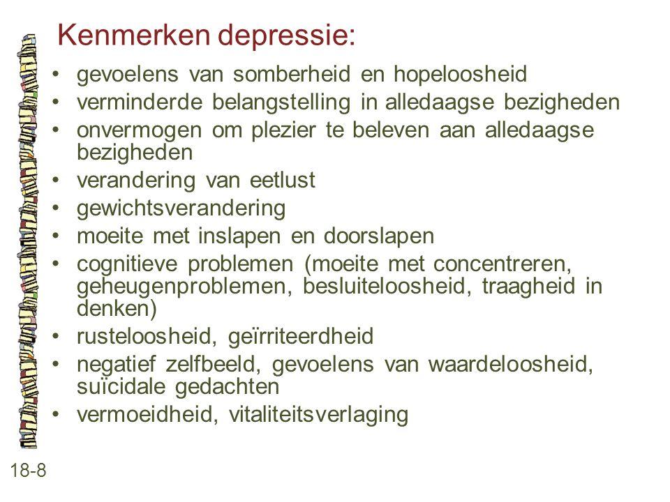 Kenmerken depressie: 18-8 gevoelens van somberheid en hopeloosheid verminderde belangstelling in alledaagse bezigheden onvermogen om plezier te beleve