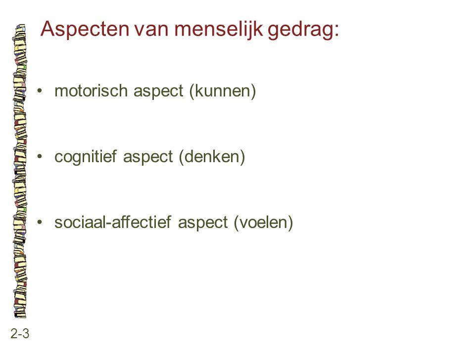 Aspecten van menselijk gedrag: 2-3 motorisch aspect (kunnen) cognitief aspect (denken) sociaal-affectief aspect (voelen)
