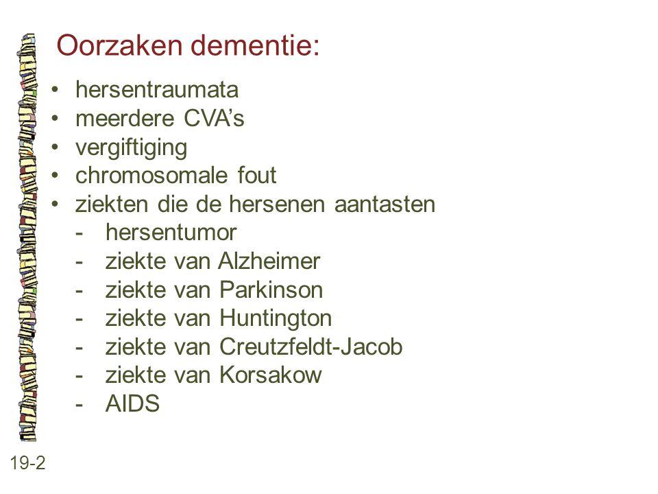 Oorzaken dementie: 19-2 hersentraumata meerdere CVA's vergiftiging chromosomale fout ziekten die de hersenen aantasten -hersentumor -ziekte van Alzhei