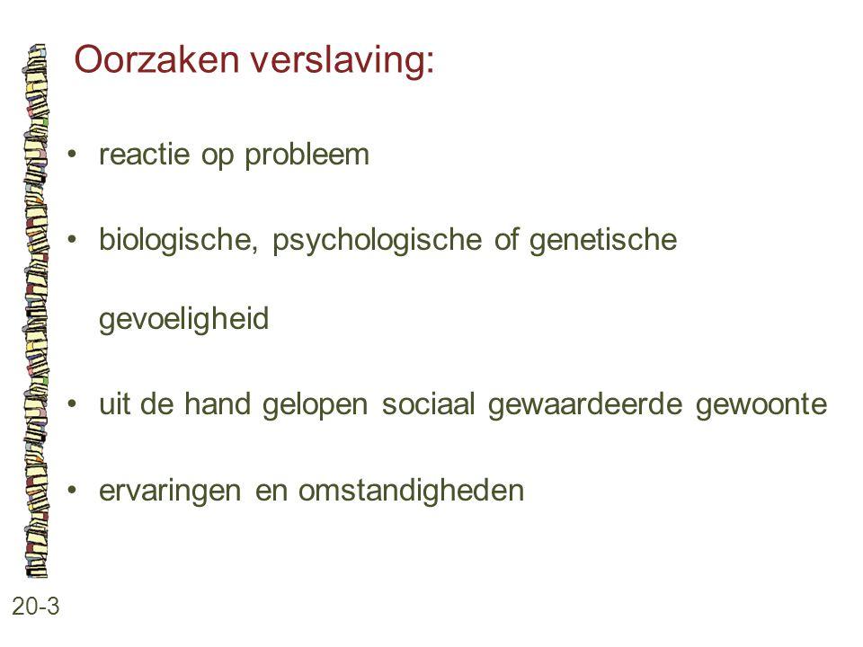 Oorzaken verslaving: 20-3 reactie op probleem biologische, psychologische of genetische gevoeligheid uit de hand gelopen sociaal gewaardeerde gewoonte