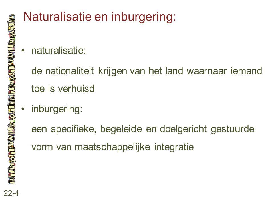 Naturalisatie en inburgering: 22-4 naturalisatie: de nationaliteit krijgen van het land waarnaar iemand toe is verhuisd inburgering: een specifieke, b